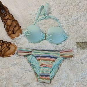 Victoria's Secret striped bandeau padded bikini
